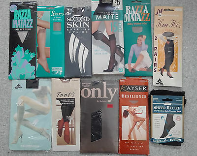 Bulk knee high pantyhose, all new in packet, one size fits most, various colours