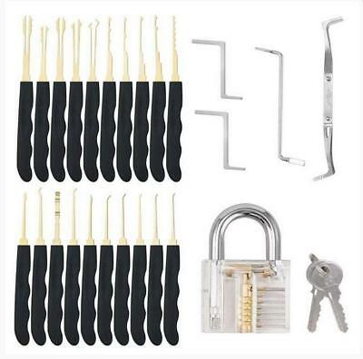 26pcs Practice Lock Pick Picking Tool Kit Padlock Locksmith Unlocking Tool Set
