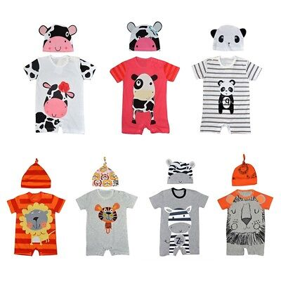 Baby Boy Girl Animal Costume Bodysuit Outfit Romper Hat Clothes Set 0-12 month