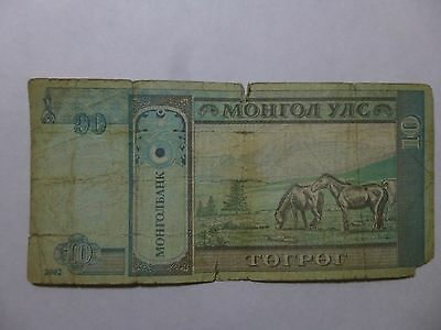 Mongolia Paper Money Currency - 2002 10 Togrog Horses - Well Circulated