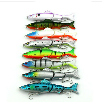 12.7cm Swimbait Multi Jointed Minnow Fishing Lures Hooks Bait Bass 3 Sections