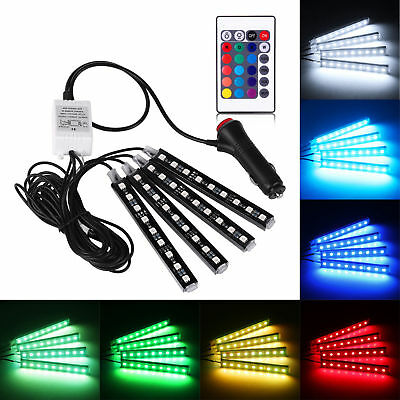 4pc 9 LED Remote Control RGB Car Interior Floor Atmosphere Light Strip