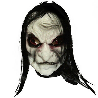 Halloween Black Long Hair Latex Mask Scary Fun Party Costume Cosplay Trick Toys