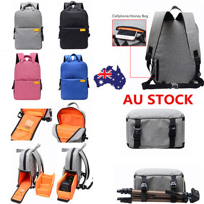 DSLR Digital Lens Camera Backpack Waterproof Shoulder Bag Case Outdoor Travel AU