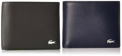 Lacoste Men's FG Leather Small Billfold Wallet Credit Card Holder NH1994FG