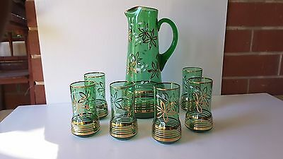 STUNNING Vintage Retro GREEN GOLD PATTERN Glass Water Jug and 6 glasses 1960's