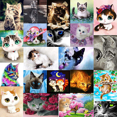 5D DIY Diamond Painting Animals Cat Embroidery Cross Crafts Stitch Home Decro