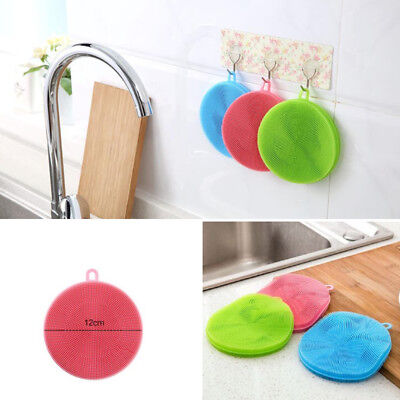 Soft Silicone Sponge Scrubber Kitchen Tool Fruit Dish Washing Household Clean HY