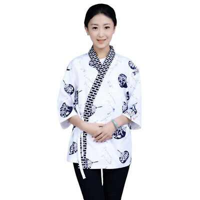 Restaurant Chef Coat Japanese Cookery Sushi Barbecue Work Uniform Kimono Tops