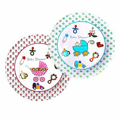 Boys & Girls Cute Baby Shower Party Tableware Disposable Paper Plates Pink Blue