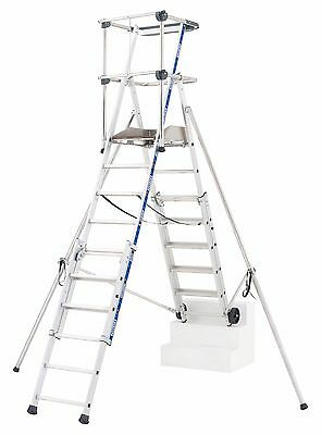 Sherpascopic Podium Platform Telescopic Ladder: Toe Board, Guardrail, Wheels etc