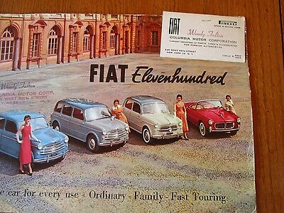 """1950s FIAT 1100 """" ORDINARY FAMILY FAST TOURING 10 PAGE ADVERTISING FULL COLOR"""