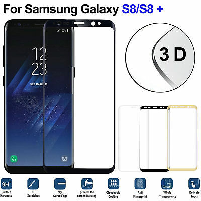 3D~ 9H Curved Full Cover Tempered Glassfolie f. Samsung S6 S7 Edge S8