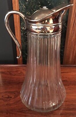 "Ribbed Pressed Glass Pitcher With Silver Plate Spout Jug 11"" Tall"