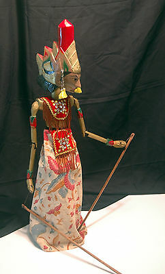 """Vtg Indonesian Wood Rod Jointed Arm Puppet - Marionette - 24"""""""