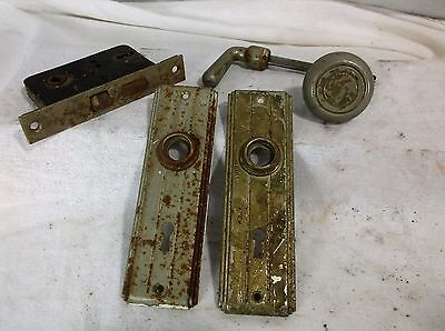 Vtg Antique Art Deco Chrome Door Knob Lever Handle Back Plates Mortise Lock