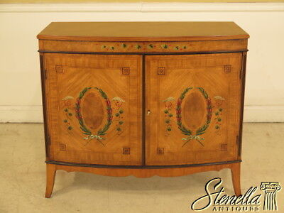 38768E: Satinwood Adam Paint Decorated 2 Door Commode Server