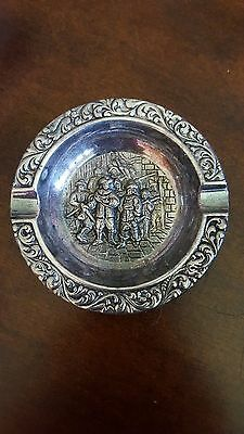 Silverplate Ashtray Repousse Tavern Sceen Ashtray