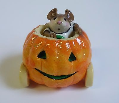 Wee Forest Folk M-242 Mouse in PUMPKINMOBILE Halloween Miniature Figurine