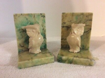 Vintage Mid-Century Wise OWL Bookends in Heavy Alabaster Marble Onyx by Desco