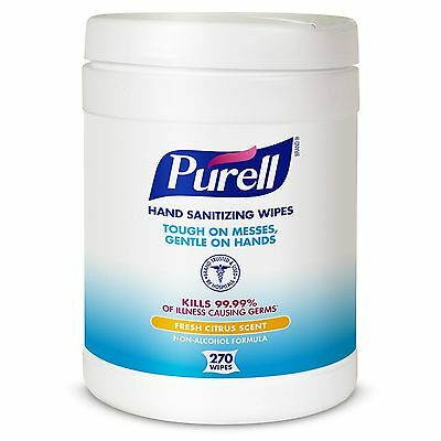 PURELL 911306CT Sanitizing Hand Wipes, 6 x 6 3/4, White, 270 Per Canister (Case