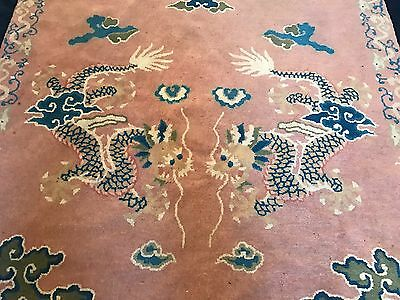 Early 1900S Antique Chinese Handmade Rug With Dragons & Robe