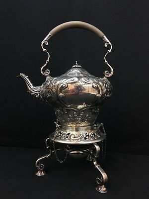 Marvelous Antique English Sterling Silver Teapot with Burner 1552 Grams
