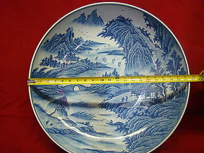Very Large Chinese Platter with Beautiful Scenery of Figure, Trees, Birds, Etc