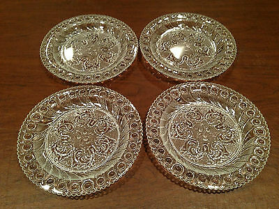 "Gorgeous Elegant Set of 4 DETAILED 8"" GLASS PLATES Acorn Burr & Scroll Design"