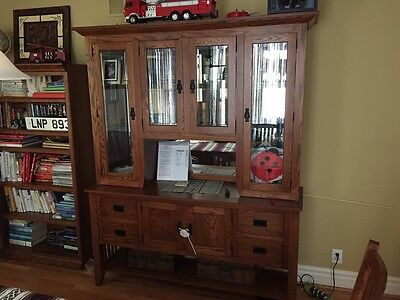 Oak Amish Hutch Buffet China Mission Style Cabinet Dining Room