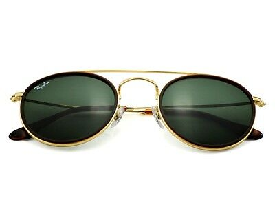 RAY-BAN Sunglasses Round Double Bridge Gold Frame Green Lens RB3647N 001 51mm
