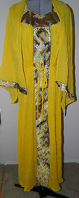 Ethiopian Traditional Gold Dress Cotton one size 3 pieces NEW Gold with Shawl