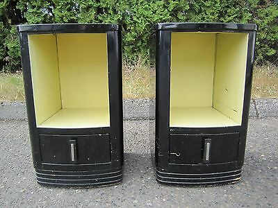 Antique Simmons Norman Bel Geddes Art Deco Metal Nightstand Pair - 1930's