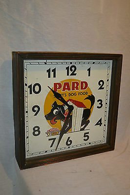 1940s Vtg wood glass Animated wall Clock display Sign PARD Dog Food Movie Prop