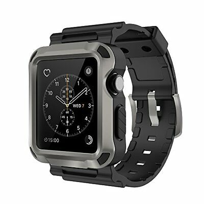 Apple Watch 42mm Case Flexible TPU Protecitve Comfortable Black Strap Grey