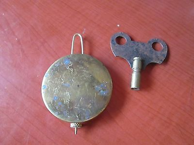 Antique/Vintage  Brass Pendulum Bob & Wire,Cottage, Banjo Clock  With Key (992O)