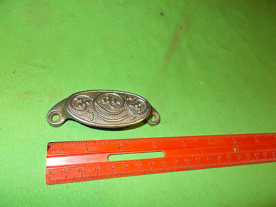 Vintage Old Antique Cast Iron Steel Victorian Embossed Drawer Bin Pull Pat 1873