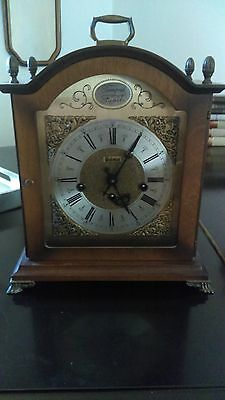Antique Tempus Fugite Bulova Carriage Clock wood case with Key, working Germany