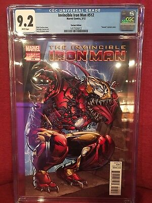 Invincible Iron Man #512 Venom Variant. CGC 9.2
