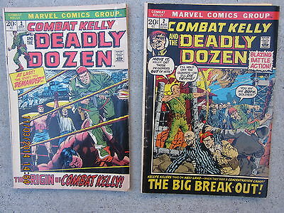 2 Issues Combat Kelly & The Deadly Dozen #2 & #3 Aug & Oct 1972 Marvel Comics