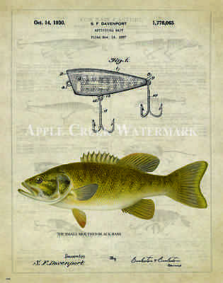 Fishing Lure Patent Poster Art Print Antique Bluegill Sunfish Reels Fish PAT154