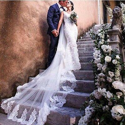 Cathedral Blusher Bridal Veil Soft Lace on Soft Illusion Tulle White/Ivory