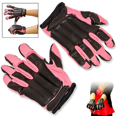 GENUINE Tactical Weighted SAP GLOVES Black Cowhide Leather & Pink Nylon - MEDIUM