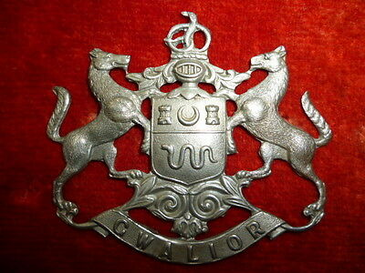 Indian Army - Gwalior State Forces WW1 Head-Dress Cap Badge, Scarce Badge