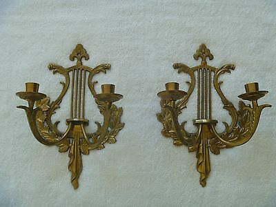 "Vintage Pair  Wall Sconces Candle Holders Set of 2  12.5""Hx8.5""W"
