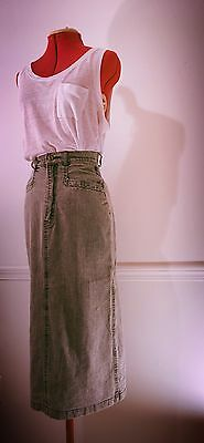 Vintage 80s Rue Royal High Waist Midi Grey Stone Washed Jean Skirt Small