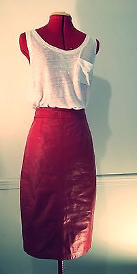 Vintage 80s Red Genuine Leather Ranch High Waist Pencil Skirt Small