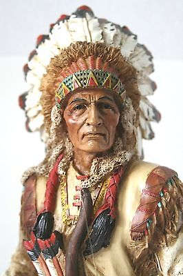 """Native American Indian Warrior Chief Weapons Figurine 14 1/2"""" Tall NEW IN BOX"""