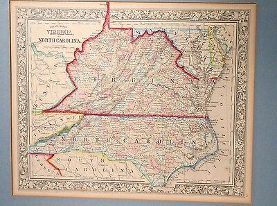 Orig. Samuel Augustus Mitchell Hand Colored County Map Virginia & North Carolina