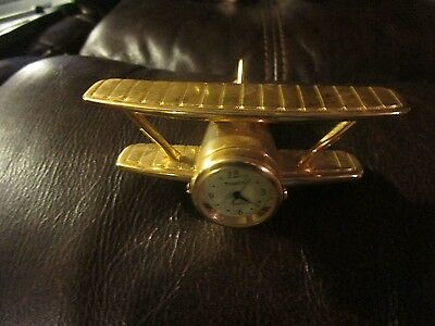 Timex Collectible Mini Plane Clock Brass Red Baron Style